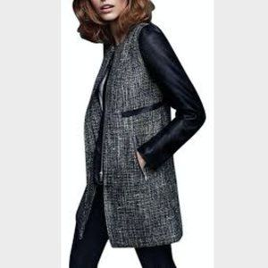 H&M Tweed Faux Leather Coat Jacket Long Zipper 2